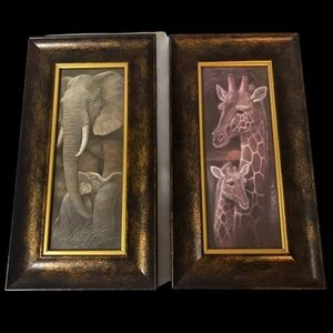 2 framed prints Elephants and Giraffes